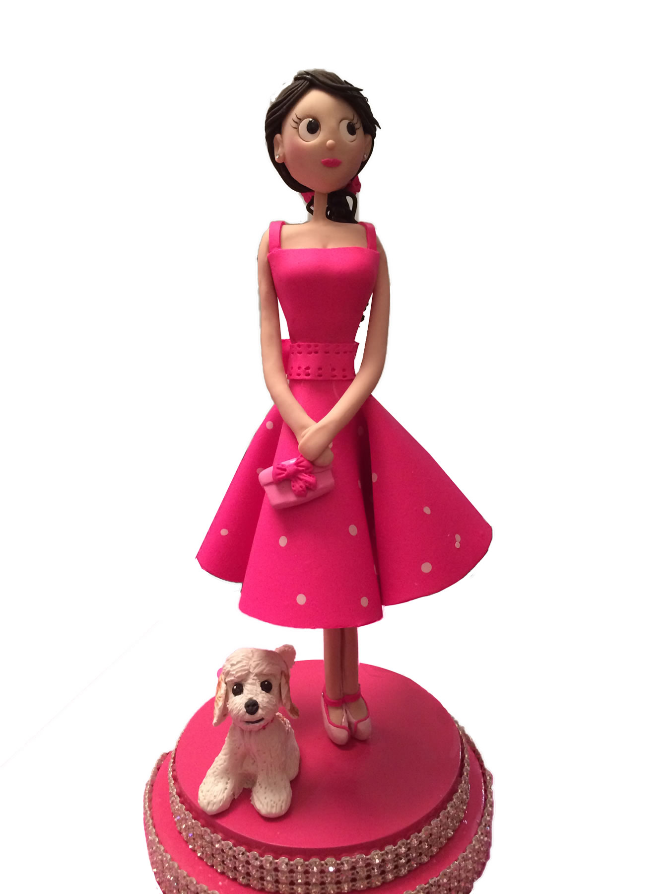 Lady in Pink with dog cake topper   New York Cake Artist